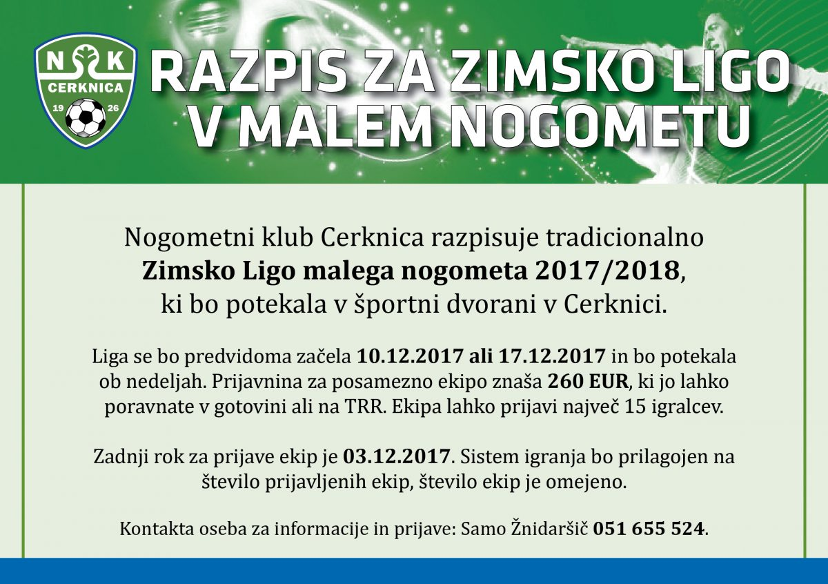 nogometni klub cerknica zimska liga 2017-2018